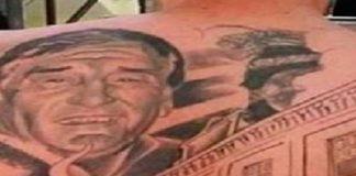 Tatuaggio volto medico che lo ha salvato