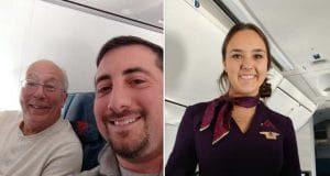 Papà aereo natale con la figlia assistente di volo