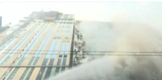 Edificio in fiamme centro commerciale