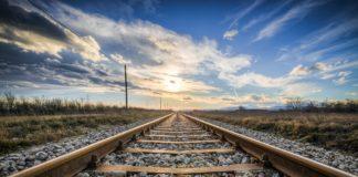 Cane veglia corpo padrone sui binari del treno